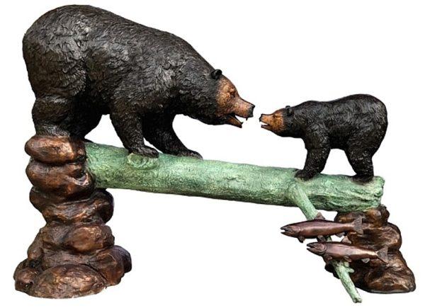 Bronze Bear & Cub Log Fountain