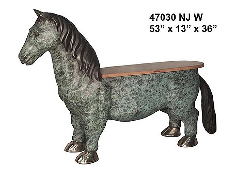 Bronze Horse Benches - AF 47030 NJ W