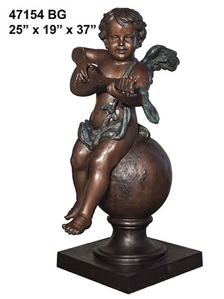 Child Angel Playing Mandolin Statue - AF 47154 BG