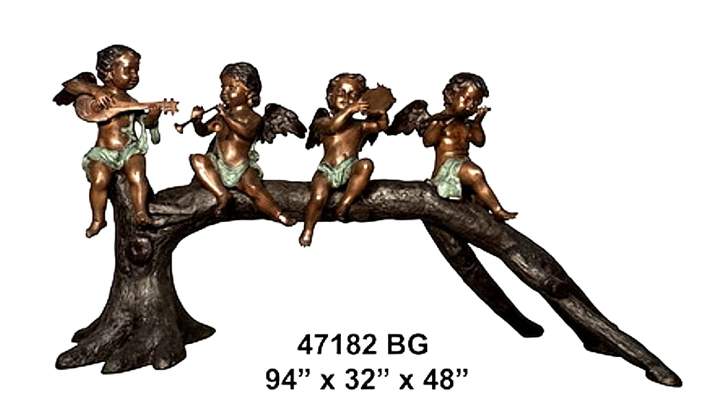 Bronze Angels Cherubs Band Statues - AF 47182 BG