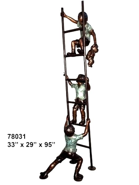 Boys Playing on Ladder Bronze Statue - AF 78031