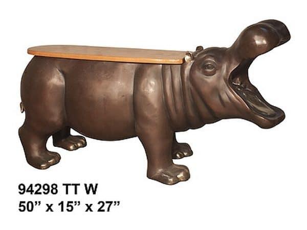 Bronze Hippopotamus Benches