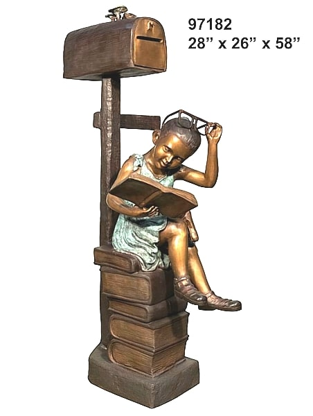 Bronze Girl Reading Mailbox - AF 97182