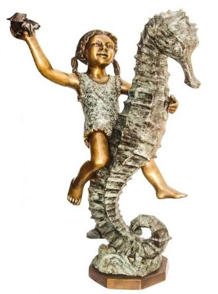 Bronze Girl Riding Seahorse Statue - KT AP-759