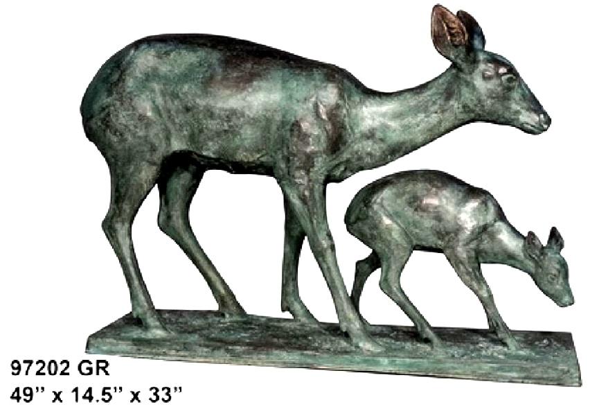 Bronze Doe & Fawn Statues - AF 97202 GR
