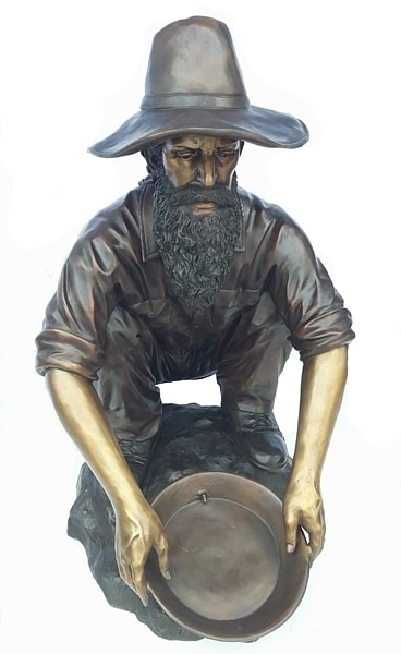 Bronze Gold Miner Prospector Fountains - D-F-031-F