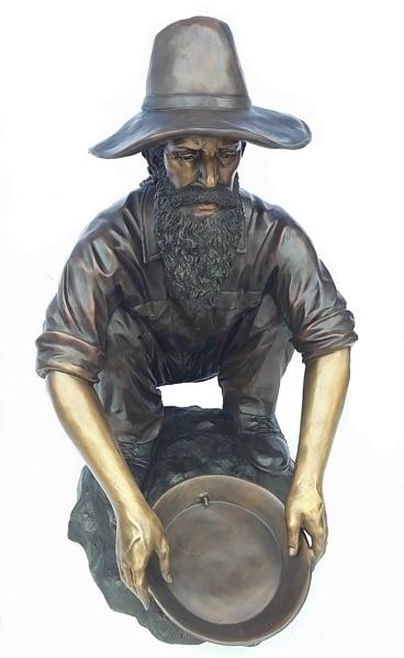 Bronze Gold Miner Prospector Statues - D-F-031-S