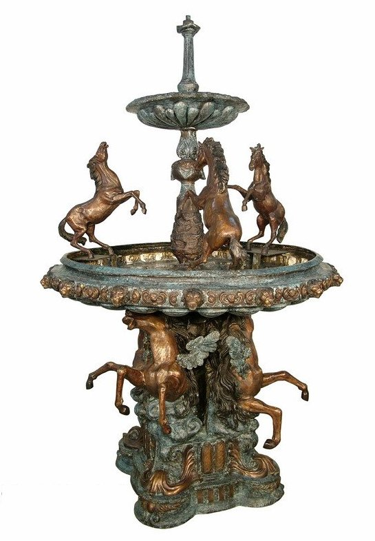 Bronze Horse Tiered Fountain - AF 52636 BG
