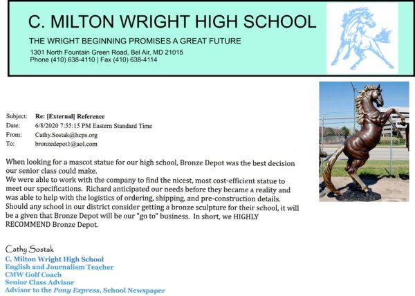 ***Bronze Horse Mascot***  C. Milton Wright High School Reference