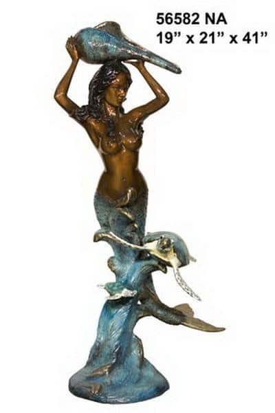Bronze Mermaid Fountain Statue - AF 56582NA