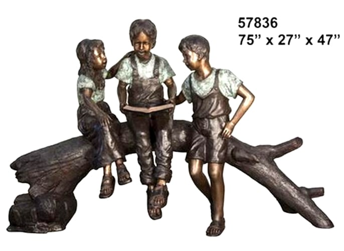Brother Reading to Siblings on Log Bronze Statue - AF 57836