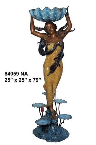 Bronze Lady Shell Statue - AF 84059NA-S