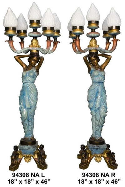 Bronze Ladies Torchiere Lamps - AF 94308NA