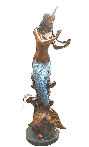 Bronze Mermaid Statue Playing Harp - DK-2389