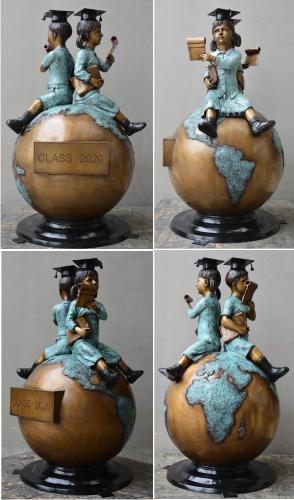 Bronze Children Globe Statue - DD 074