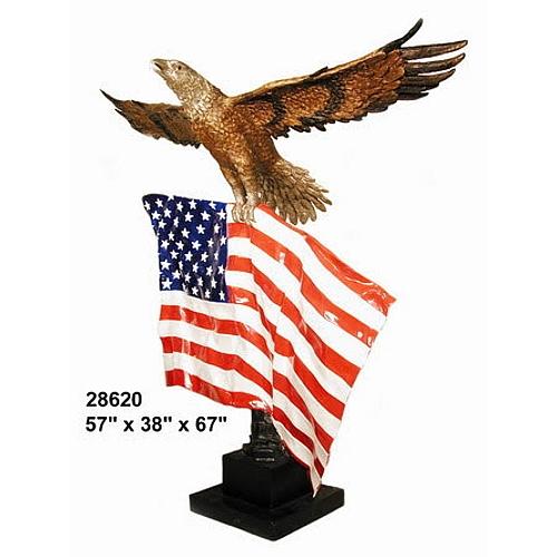 Patriotic Bronze Eagle Flag Statue