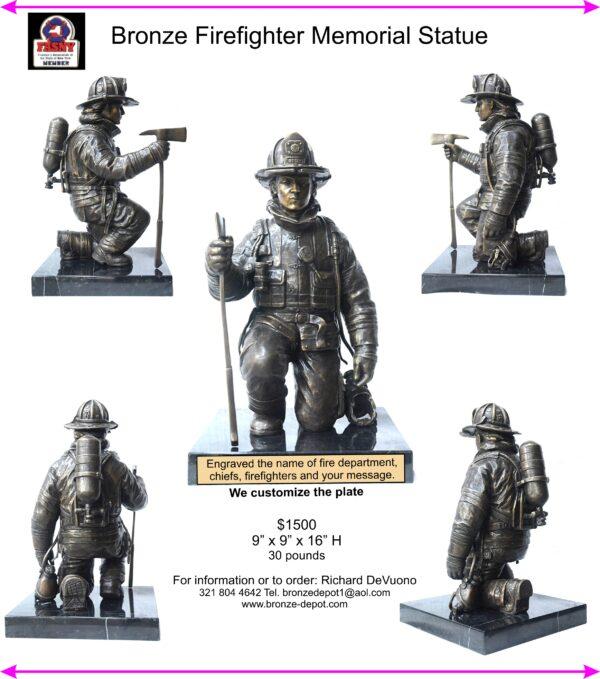 Bronze Firefighter Memorial Statue