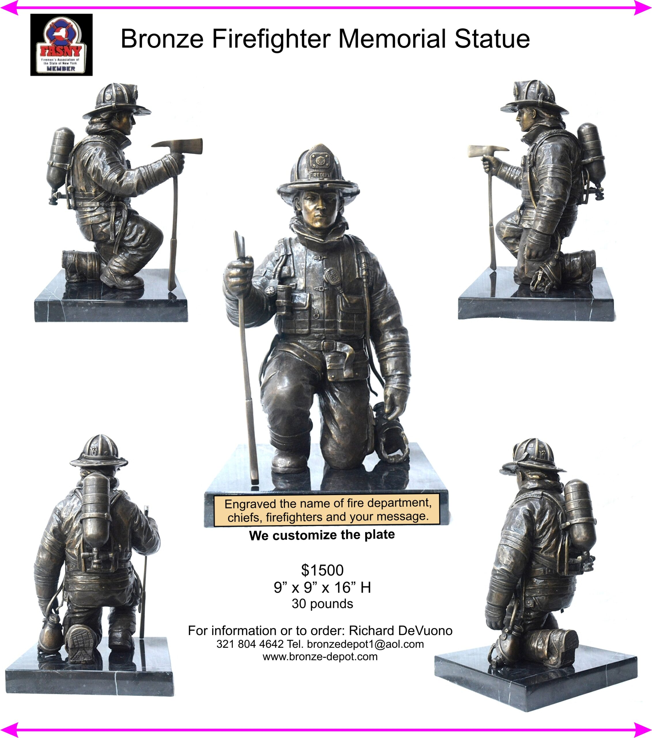 Bronze Firefighter Memorial Statue - DD-SF1
