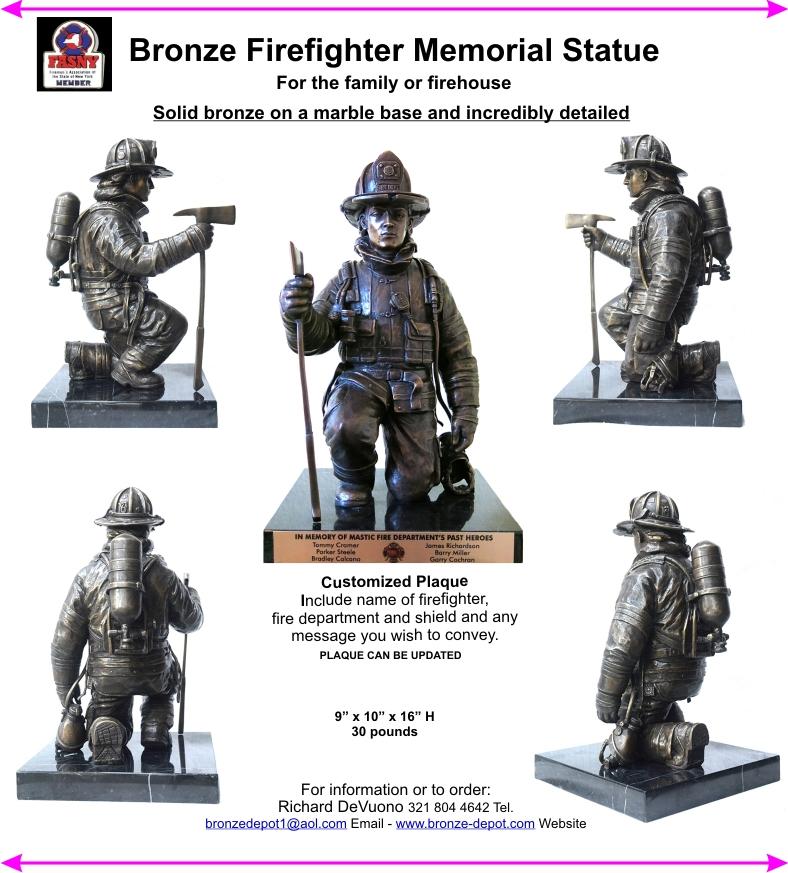 Bronze Firefighter Memorial Statue - DD-147