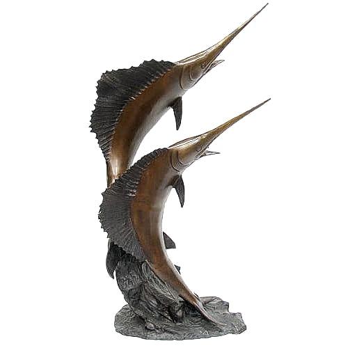 Bronze Sailfish on Wave Statue - DK 1736B-S
