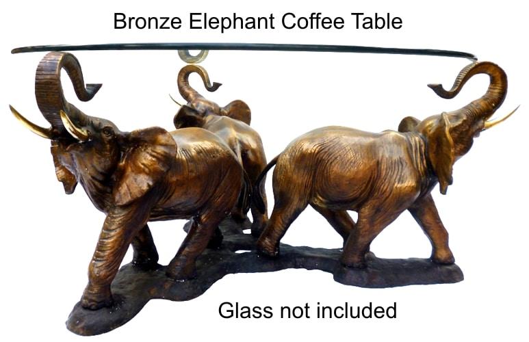 Bronze Elephant Coffee Table - DK 2386C