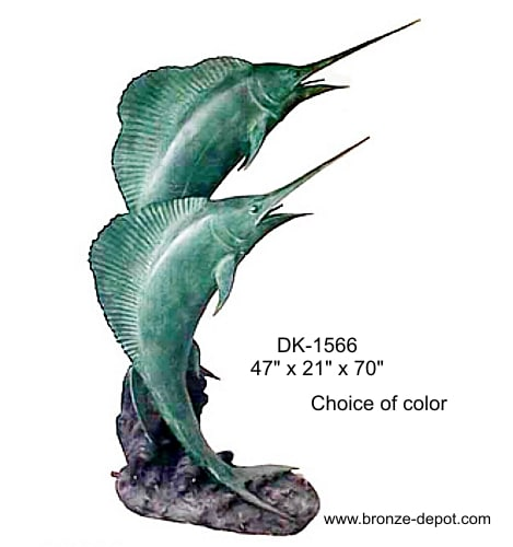Leaping From Wave Bronze Swordfish Statue - DK 1566-S