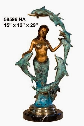 Bronze Mermaid & Dolphins Statue - AF 58596 NA