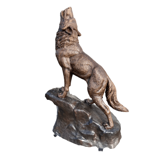 Bronze Howling Wolf on Rock Statue - ASB 967
