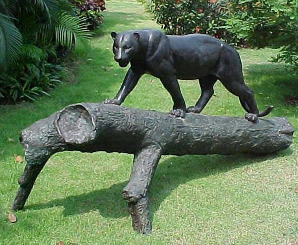 Bronze Panther on Tree Mascot Statue - PA 1052C