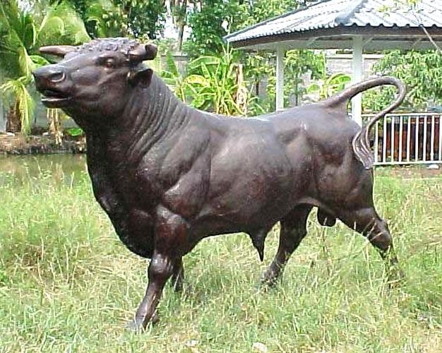Life-Sized Bronze Bull Mascot Statue - PA 1064