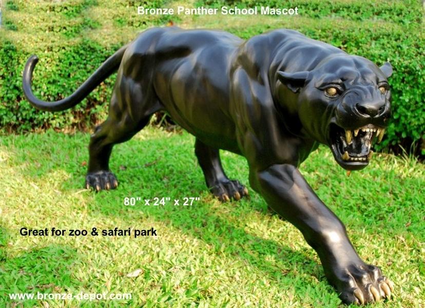 Bronze Fierce Panther Mascot Statue - PA 1194
