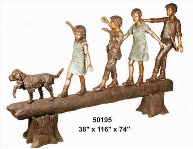 Bronze Siblings & Dog Balancing Log Statue - AF 50195