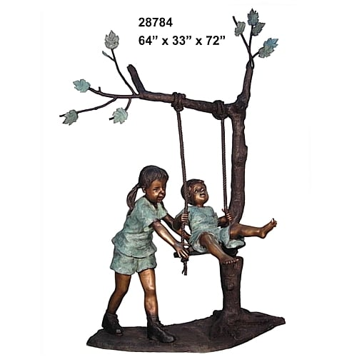 Bronze Girl Pushing Brother on Swing Statue - AF 28784