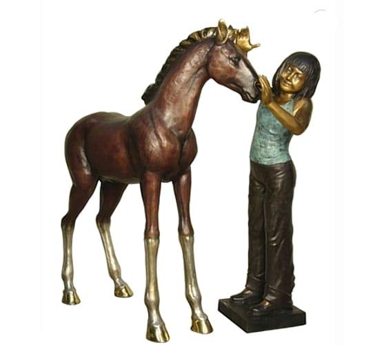 Bronze Girl & Pony Statue - AF 28966 - 28991