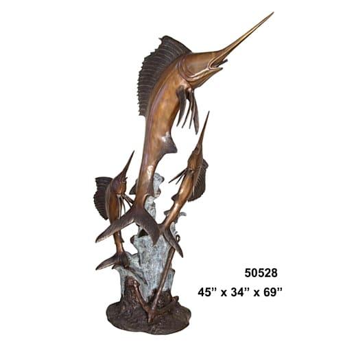 Bronze Jumping Sailfish Fountain - AF 50528