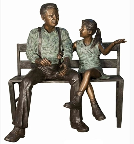 Bronze Grandfather & Granddaughter on Bench Statue - AF 71050