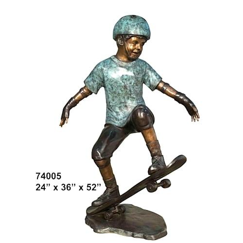 Bronze Boy Skate Bordering Statue - AF 74005