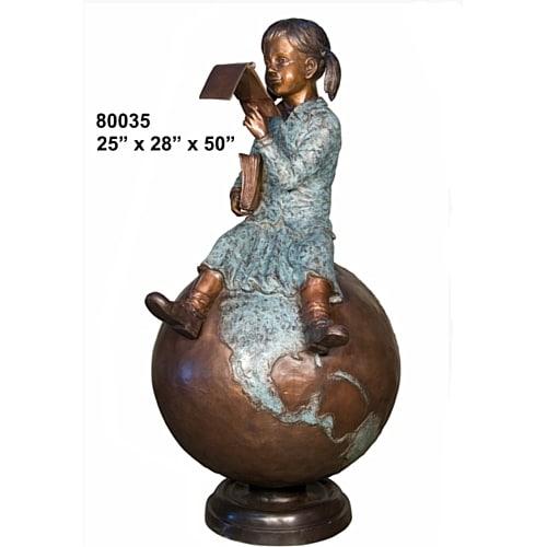 Bronze Girl Reading on Globe Statue - AF 80035