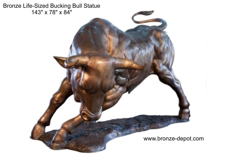 Bronze Life-Sized Bucking Bull Statue - AF 84116