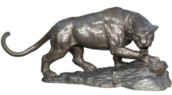Bronze Stalking Panther Statue