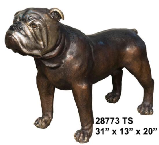 Bronze Bulldog Mascot Statue - AF 28773TS