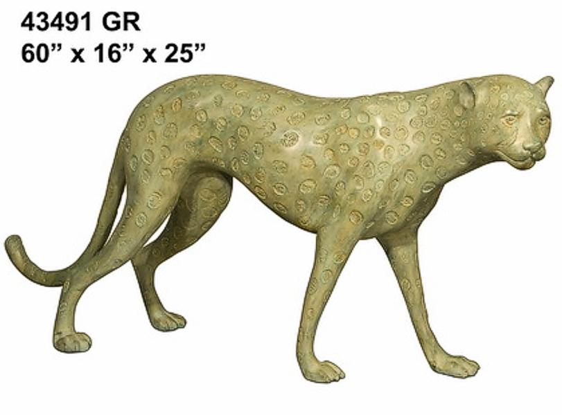 Bronze Cheetah Statue - AF 43491GR