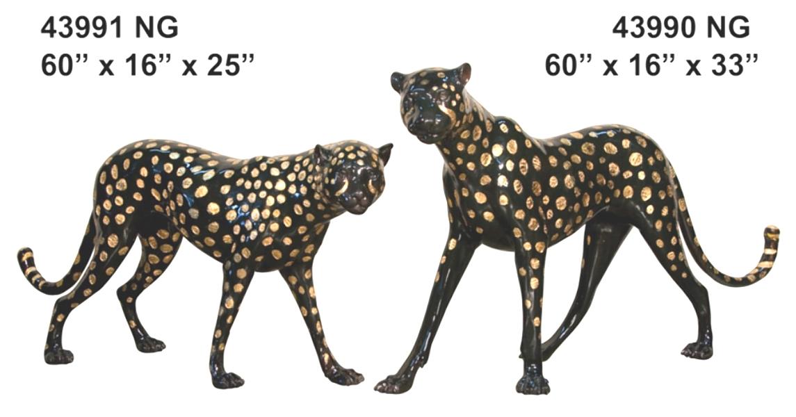Bronze Cheetah Statues - AF 43990-91 BK