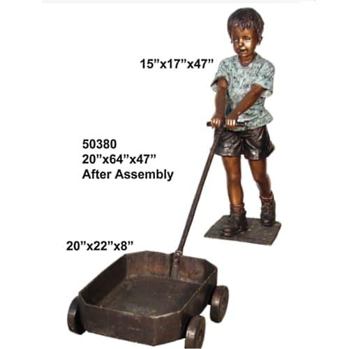 Bronze Boy Pulling Wagon Statue - AF 50380