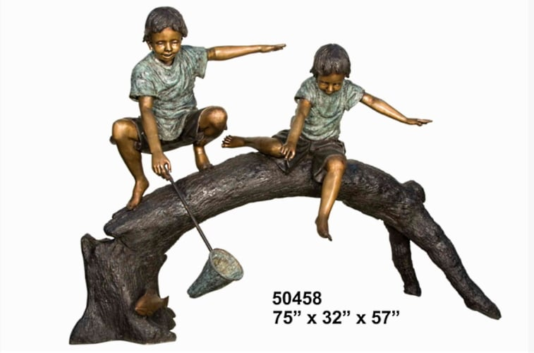 Brothers Fishing From Tree Statue - AF 50458