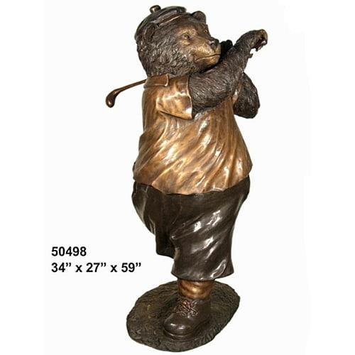 Bronze Golfer Bear Statue - AF 50498