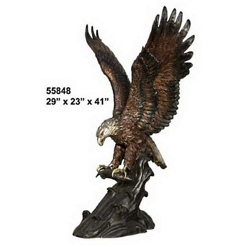 Bronze Eagle Catches Fish Statue - AF 55848