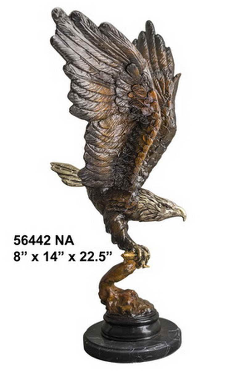 Bronze Eagle Landing on Branch Statue - AF 56442NA