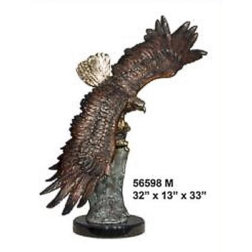 Bronze Soaring Eagle Statue on Marble Base - AF 56598