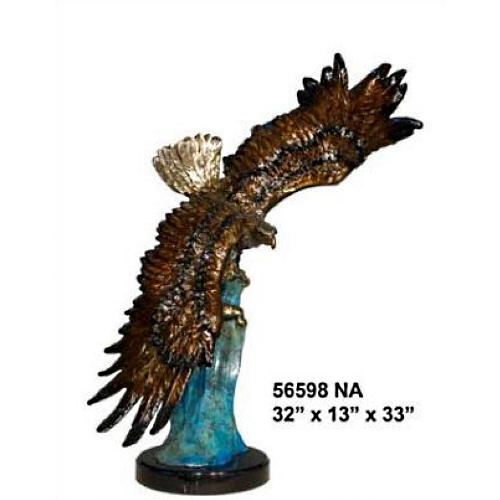 Bronze Soaring Eagle Statue on Marble Base - AF 56598NA
